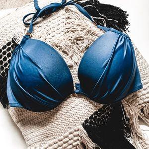 VICTORIA SECRET • blue padded halter bikini